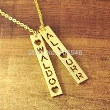 custom gold necklace aliexpress buy custom gold color bar necklace personalized