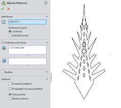 edit sketch pattern in solidworks create a snowflake using all of the solidworks patterns