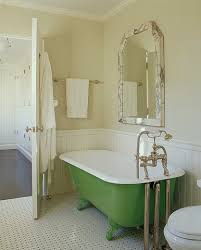 lovely vintage kitchen design with green claw foot tub chair rail