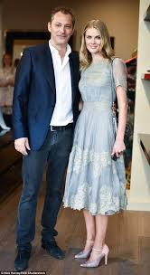 donna air party hops across london in blue lace dress and baby