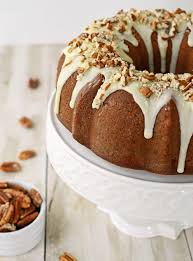 brown sugar pound cake with butter rum pecan glaze