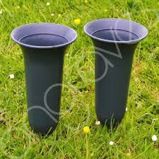 Graveside Flower Vases Of 2 Plain Green Fluted Spiked Memorial Grave Flower Vases