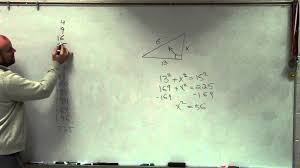 geometry how to find the missing length of a leg of a right