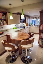 modern kitchen breakfast bar wooden round breakfast bar situating under lime green modern