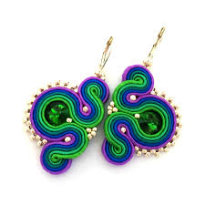 peacock design earrings soutache earrings statement earrings sabo design