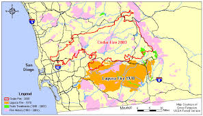 california map laguna cedar california s largest wildfire today
