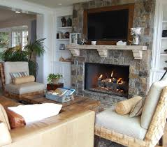 decoration beach style living room with wood burner fireplace and