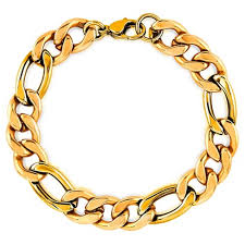 stainless gold bracelet images Men 39 s crucible gold plated stainless steel figaro chain bracelet