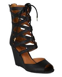 qupid flix 47 new women leatherette peep toe lace up gladiator