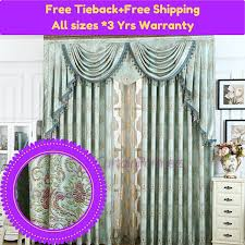 Blue Swag Curtains Teal Blue Swags Valance Pelmet Drapes Sheer Blockout Eyelet Beaded