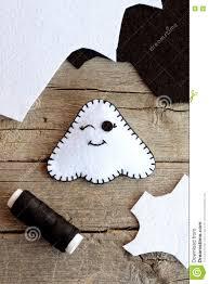 cute halloween ghost decor felt sheets black thread on an old