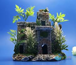 aquarium ornament castle tree painted detailed fish tank