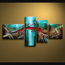 painted 4 pieces modern abstract painting wall art interior design