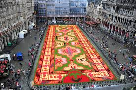 carpet of flowers for brussels central square as country