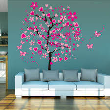 Mural Stickers For Walls Large Pink Peach Tree Butterfly Wall Stickers Removable Vinyl Art