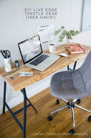 Office Design Homemade Office Desk Pictures Office Decoration by Ikea Hack Easy Diy Live Edge Desk With Trestle Legs Wood