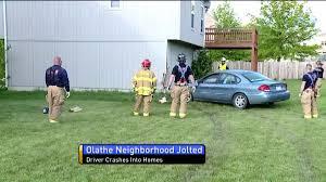 erratic driver plows through backyards two homes shaking olathe