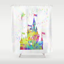 Shower Curtain Prices Castle Of Magic Kingdom Tinkerbell Disney Shower Curtain