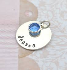Personalized Stamped Necklace Add On Big Hand Stamped Charm With Birthstone Hand Stamped Word