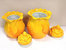 Yellow Canister Sets Kitchen Amazon Com Tuscany Garden Ruffle Orange Yellow Flower Collection