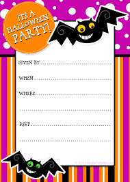 cute pink halloween party invitation card with bat decals and