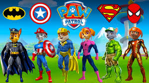 paw patrol turn into superheroes spiderman superman batman