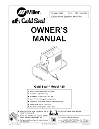 miller electric gold seal model 440 owner s manual