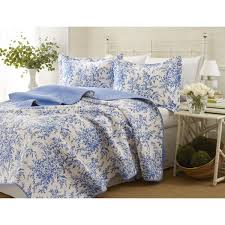 Blue And White Comforters Laura Ashley 3 Piece Bedford Blue Reversible Quilt Set On Sale