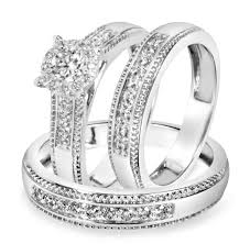 wedding ring sets his and hers white gold 7 8 carat t w diamond trio matching wedding ring set 10k white gold