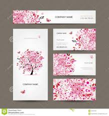 floral business card business cards design with floral tree pink stock photo image