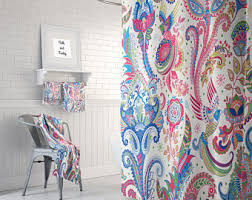 custom chocolate and aqua large paisley shower curtain