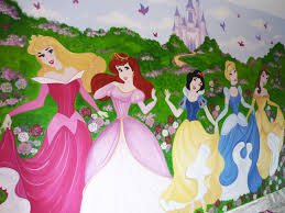 hand painted wall mural of disney princesses and castle disney hand painted wall mural of disney princesses and castle