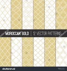 moroccan lattice patterns gold champagne white stock vector