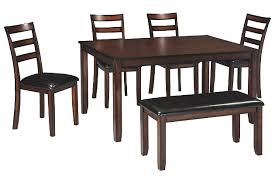Coviar Dining Room Table And Chairs With Bench Set Of  Ashley - Wood dining room table