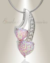 cremation jewlery pink opal calming hearts cremation jewelry and opal memorial pendants