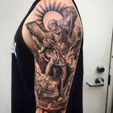 st michael the archangel tattoo half sleeve 75 st michael tattoo