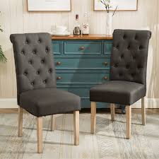 habit solid wood tufted parsons dining chairs set of 2 tan fabric
