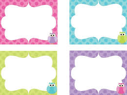 printable name tags name tags on owl labels kids and clock numbers