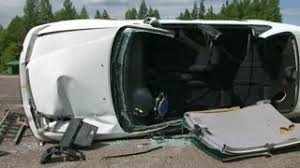 shocked man and woman in car avoiding crash collision accident