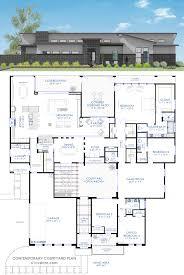 ultra modern house floor plans contemporary courtyard plan single