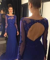 open back prom dresses long sleeve prom dress royal blue prom