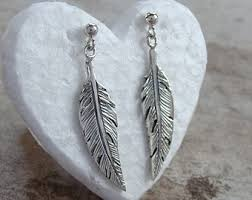 silver feather earrings sterling silver feather earrings