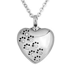 keepsakes for ashes lovelyjewelry white birthstone pet paw heart urn necklace for