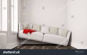 Design A Sofa Small Narrow Living Room Space Problems Stock Illustration