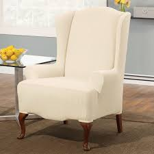 sure fit slipcovers form fit stretch pinstripe wing chair