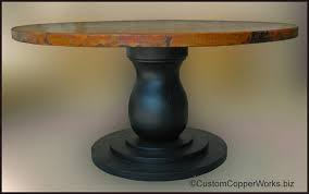 custom round dining tables round dining table hammered copper top table mounted on wood