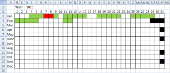 pattern fill download excel visualize date ranges in a calendar