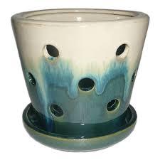 shop garden treasures 4 72 in x 5 28 in teal cream ceramic planter