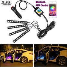 app controlled car lights 4pcs bluetooth app control car rgb led strip lights car styling 9
