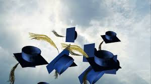 blue graduation cap grad cap toss blue background